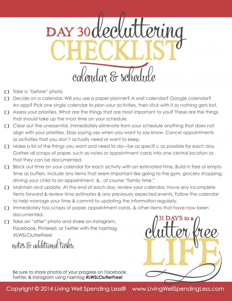 31 days to a clutter free life checklist