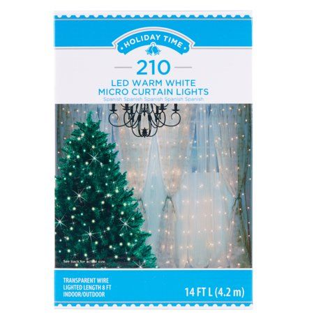 Holiday Time 210 Led Warm White Micro Curtain Lights 14