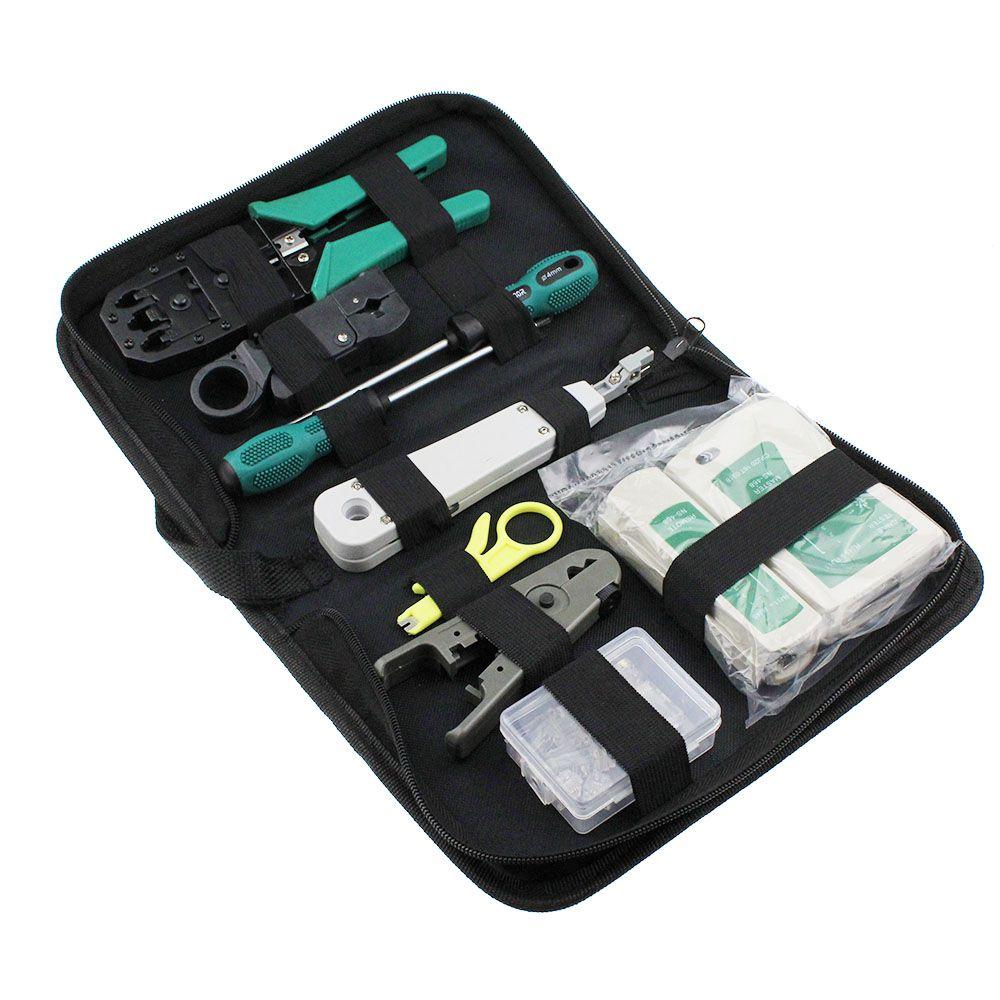 11pcs Set Rj45 Rj11 Rj12 Cat5 Cat5e Portable Lan Network Repair Tool Cable Utp Tester Kit And Plier Crimp Crimper Plug Clamp Pc