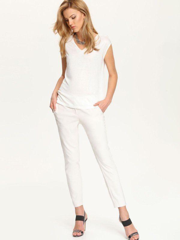 spodnie długie damskie  beżowe - SSP2242 TOP SECRET