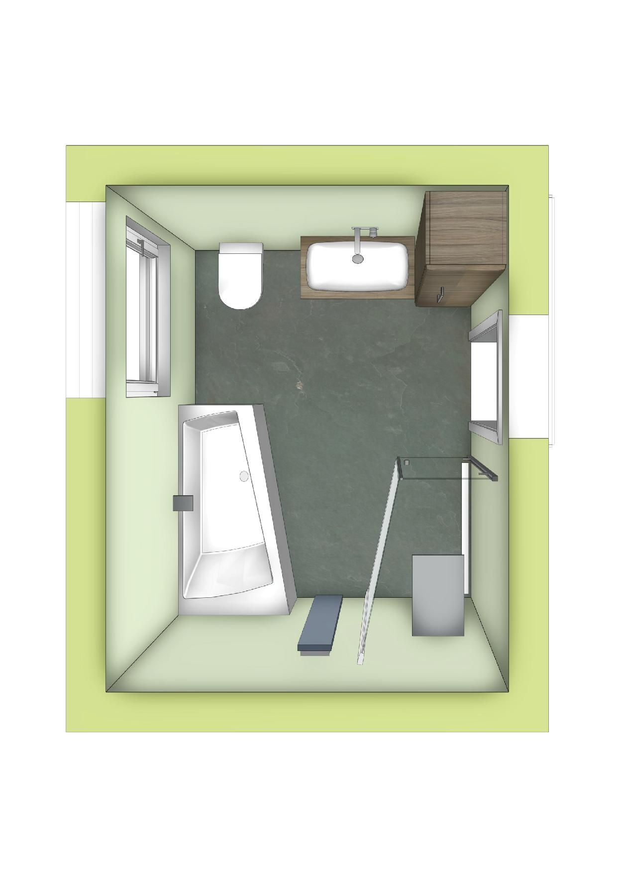 Badezimmer mit Raumsparbadewanne und begehbarer Dusche in ...