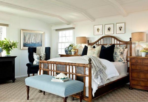 maritim einrichten bambus doppelbett und hellblaue bettbank - schlafzimmer maritim einrichten