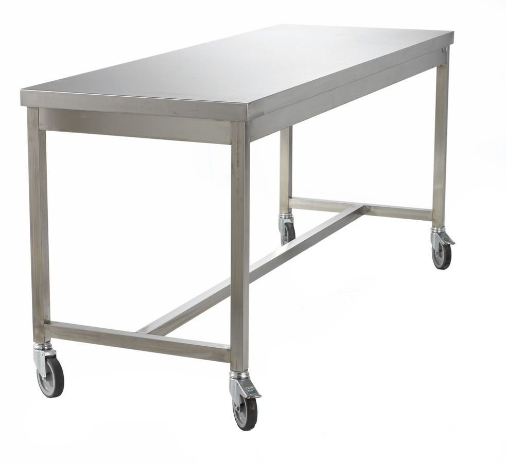 Stainlesssteelworktableoncastersjpg - Stainless steel work table on casters