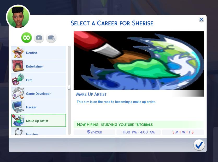 Make Up Artist Career Sims 4 game, Sims 4 jobs, Sims