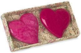 Miniature Alabaster Heart Paperweights Box Of 2 Pink And Fuchsia