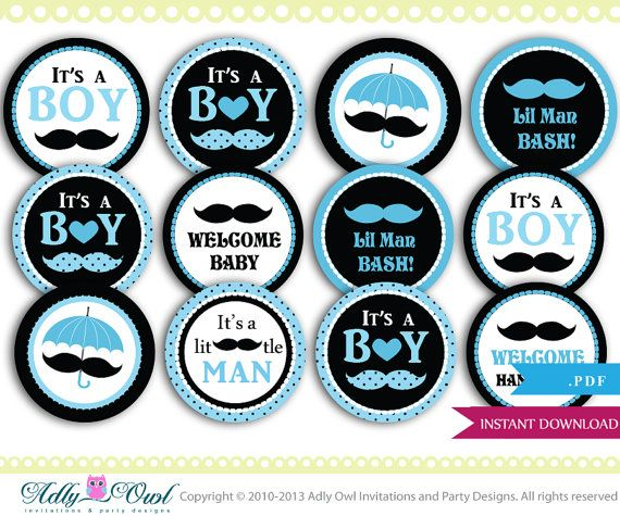 Mustache Cupcake Toppers For Little Man Baby Shower Diy Baby Blue