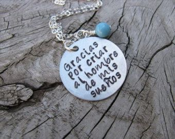 Spanish Quote Mother In Law Necklace Gracias Por Criar Al