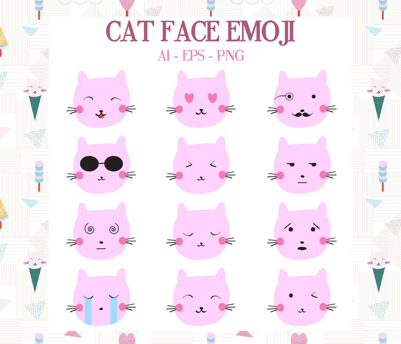 Cat Emoji, Cute Cat Emotions Set. Simple Funny Cartoon