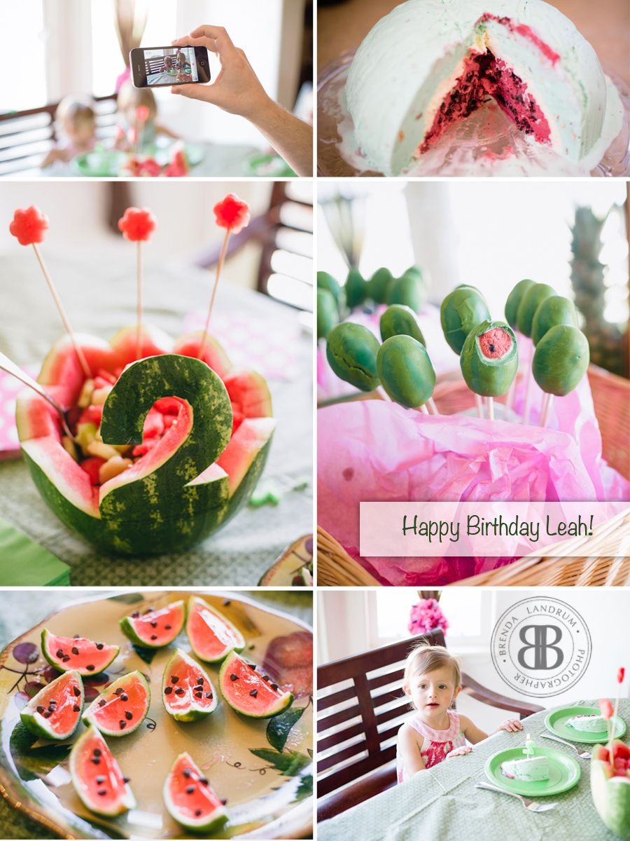 Watermelon themed Birthday party I threw for my 2 year old! Watermelon Bombe, warermelon cake pops, mini watermelon lime jello shots (non alcoholic) and a watermelon fruit bowl! Thanks Brenda Landrum for the photos! #watermelonparty #brendalandrum