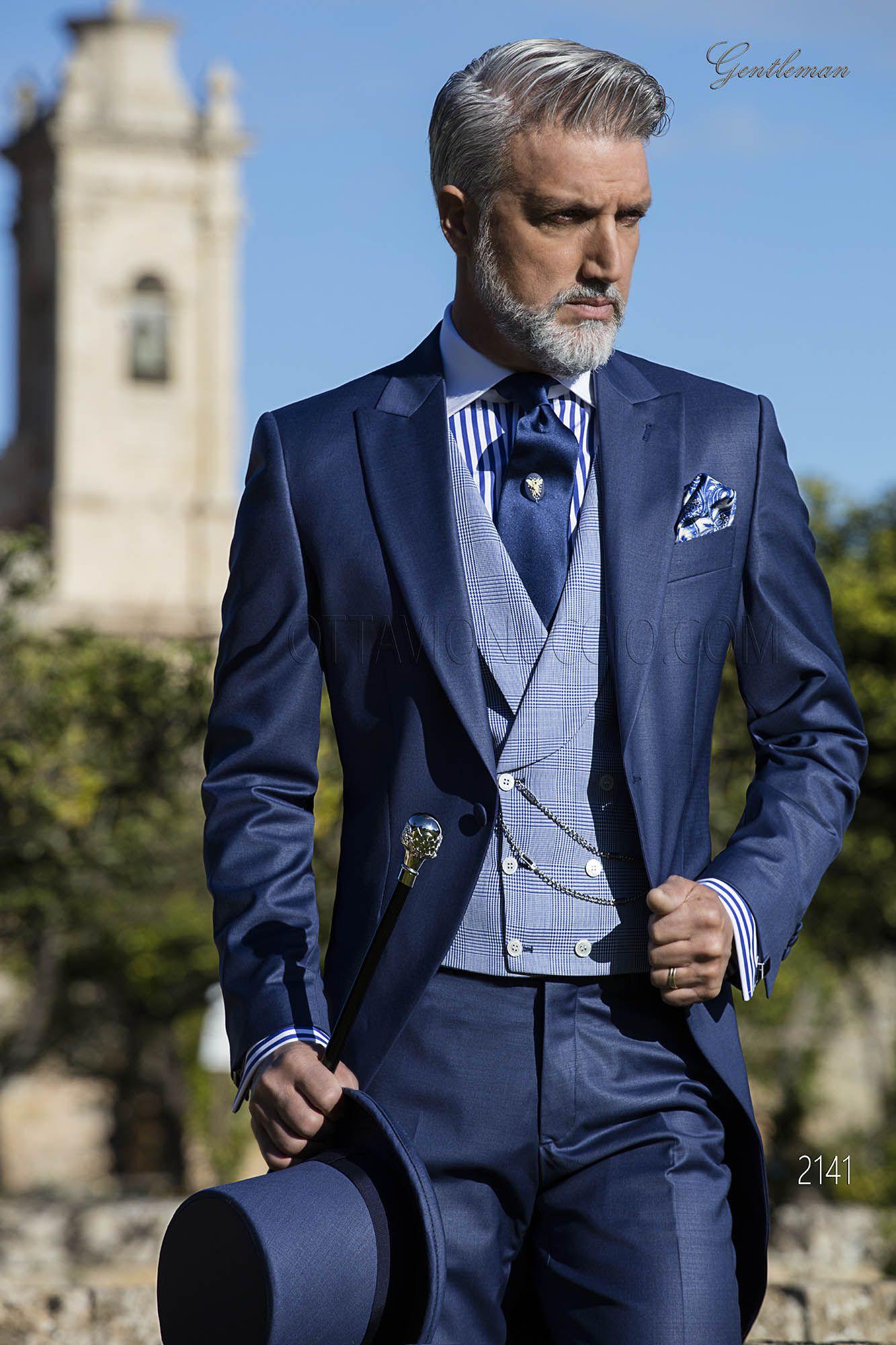 Jaquette bleu avec gilet croisé prince de galles en soie. Costume ONGala  2141 db1b6d061cc