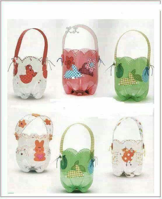 Reciclando   Easter   Plastic bottle crafts, Recycle plastic