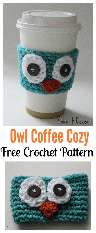 Crochet Owl Mug Cozy Free Patterns | Yarn that one | Pinterest ...