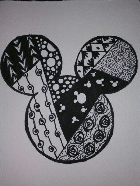 Mickey zentangle doodle art I Did This Pinterest