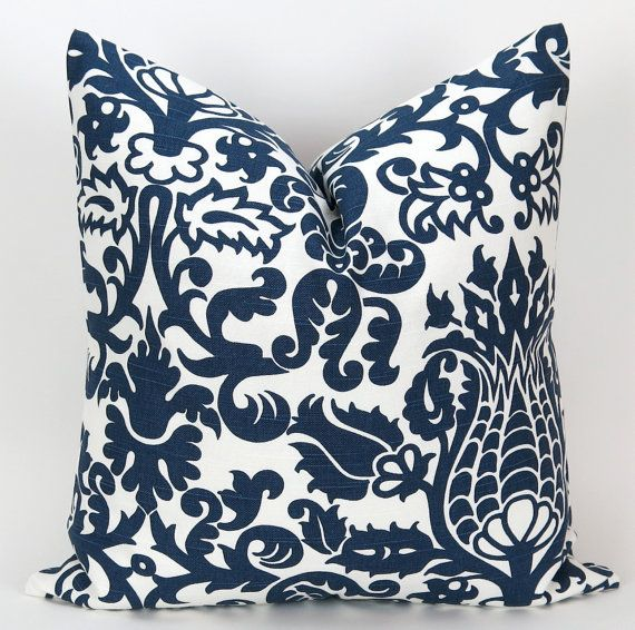 Navy Throw Pillow Cover Accent Pillow by DeliciousPillows on Etsy