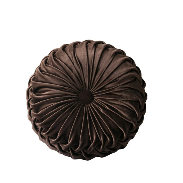 SUPERHOMUSE Velvet Pleated Round Pumpkin Pillow Couch Cushion Floor Pillow Decor for Home