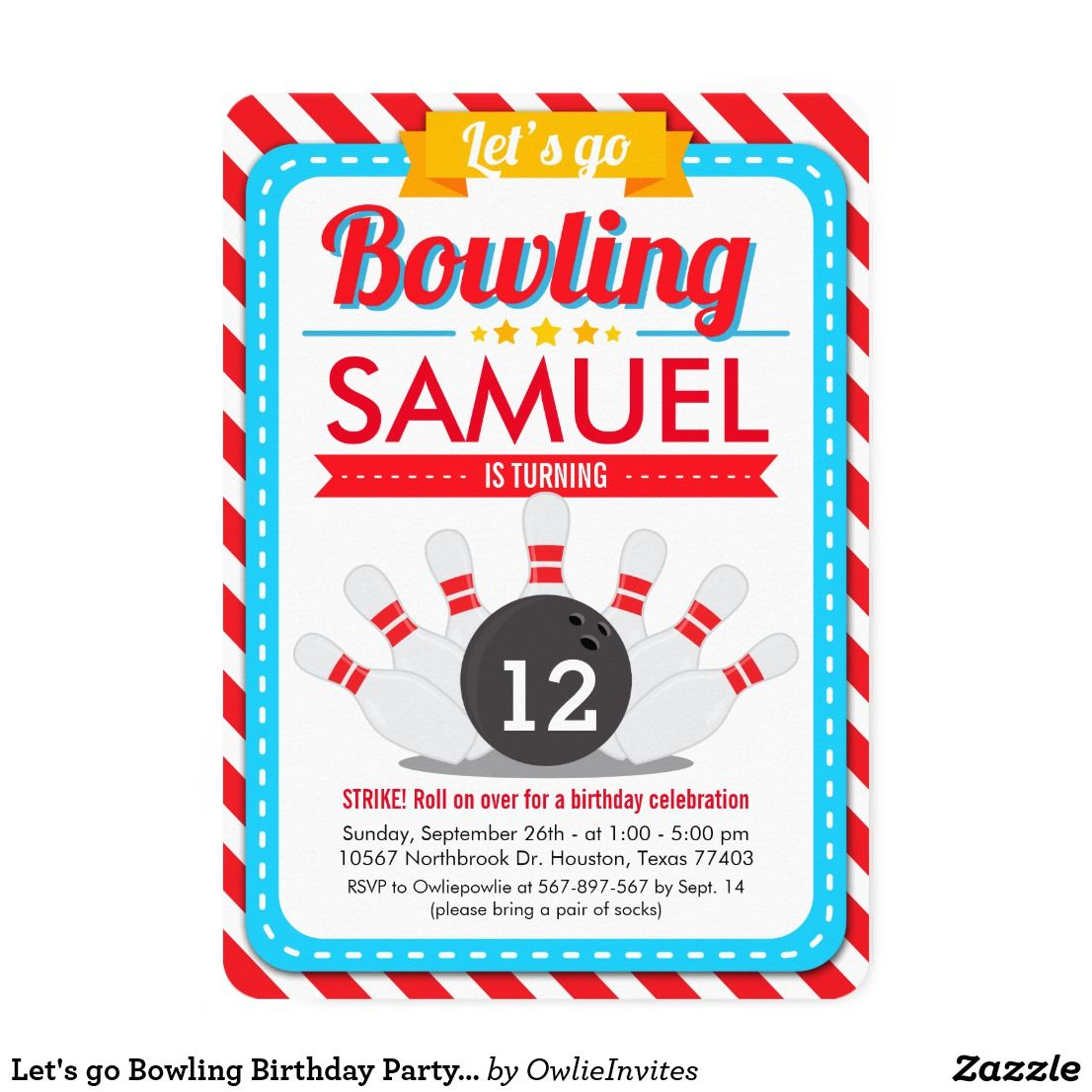 Let\'s go Bowling Birthday Party Invitation | Party invitations ...