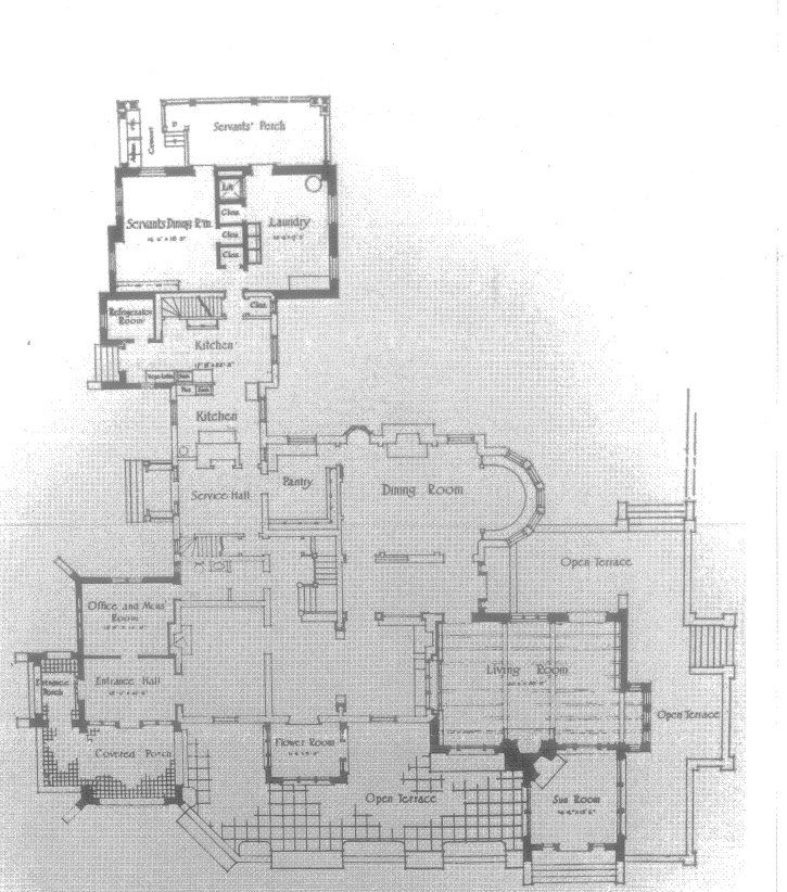 """The First-Floor plan of """"Redwood"""" the estate of the Thayer's in Haverford, Pennsylvania."""