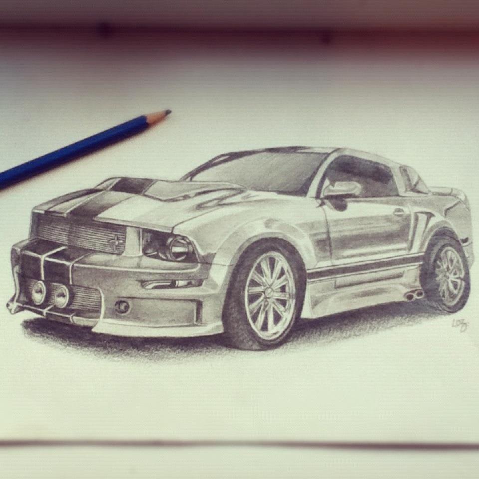 Car Drawings: Hand Drawn Ford Mustang Using Pencil