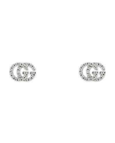 2e521eba20c GUCCI RUNNING G PAV EACUTE  DIAMOND STUD EARRINGS IN 18K WHITE GOLD.  gucci