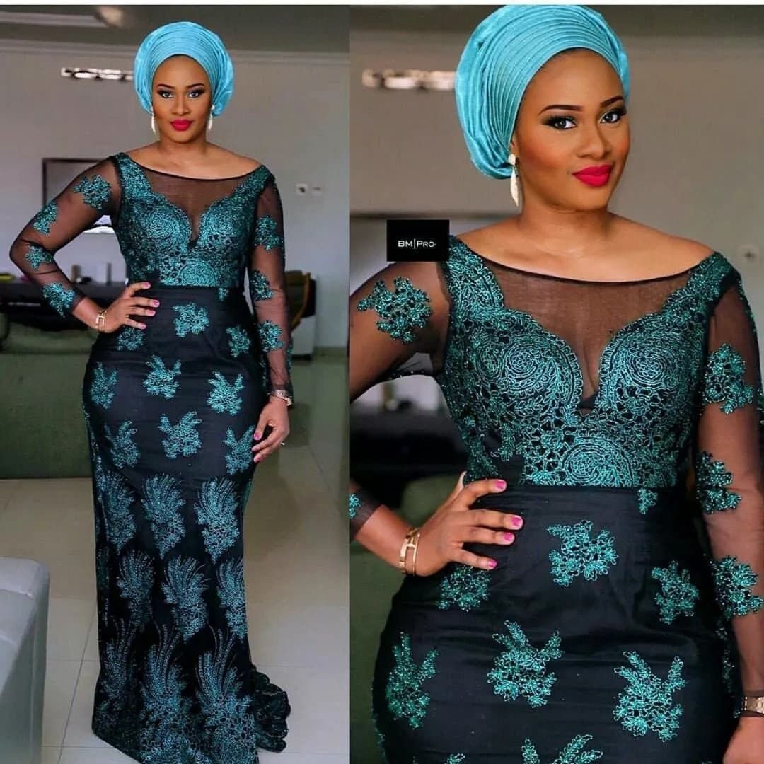 Fashion in Nigerian traditional styles: French lace #nigeriandressstyles