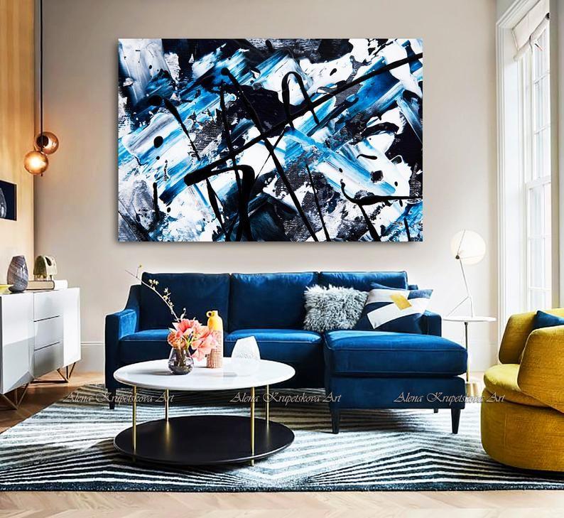 Canvas Art Large Wall Art Framed Jackson Pollock Black White Etsy Blue Living Room Decor Blue Sofas Living Room Blue Couch Living Room