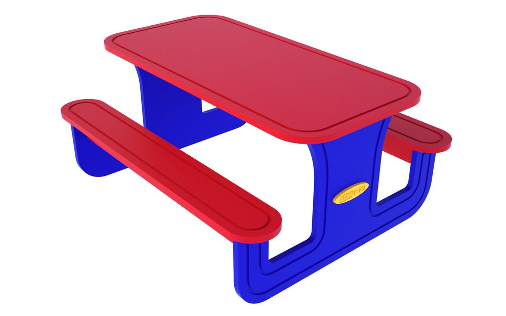 """These traditional style picnic tables have been down-sized to be a perfect fit for little ones. Toddler Picnic Table  Product ID: 600-006 Dimensions: 41"""" x 36"""" x 20"""" Play Capacity: 4-6 Kids Age Group: 2-5 Years"""