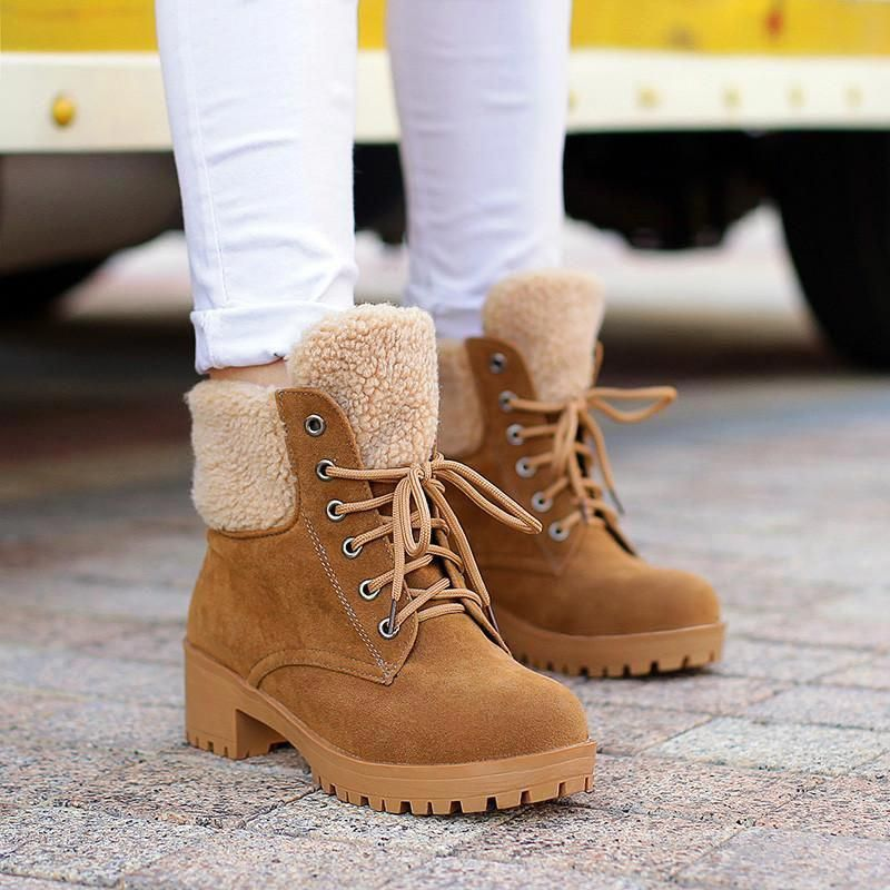 Details about  /New Women's Stylish Lace Up Combat Boots Low Chunky Heel High Top Ankle Boots