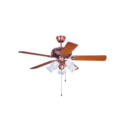 5 Lights Traditional Style Red Copper Ceiling Fan With Wooden