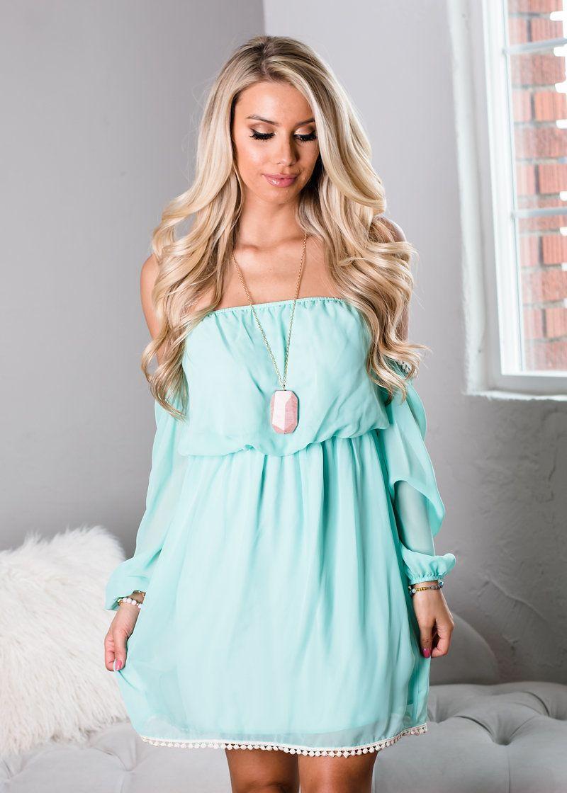 Feeling Powerful Off Shoulder Dress Mint - Modern Vintage Boutique ...