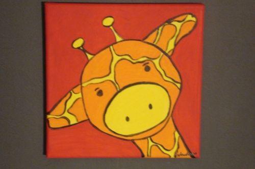 Schilderijtje dier met kader €25,00. Leuk handgemaakt schilderijtje van een giraf. #schilderijtje #kinderkamer #Decodomus