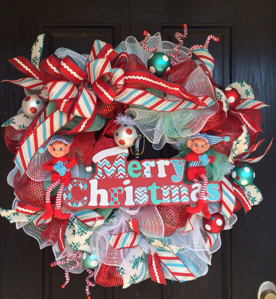 A personal favorite from my Etsy shop https://www.etsy.com/listing/206427723/merry-christmas-deco-mesh-wreath