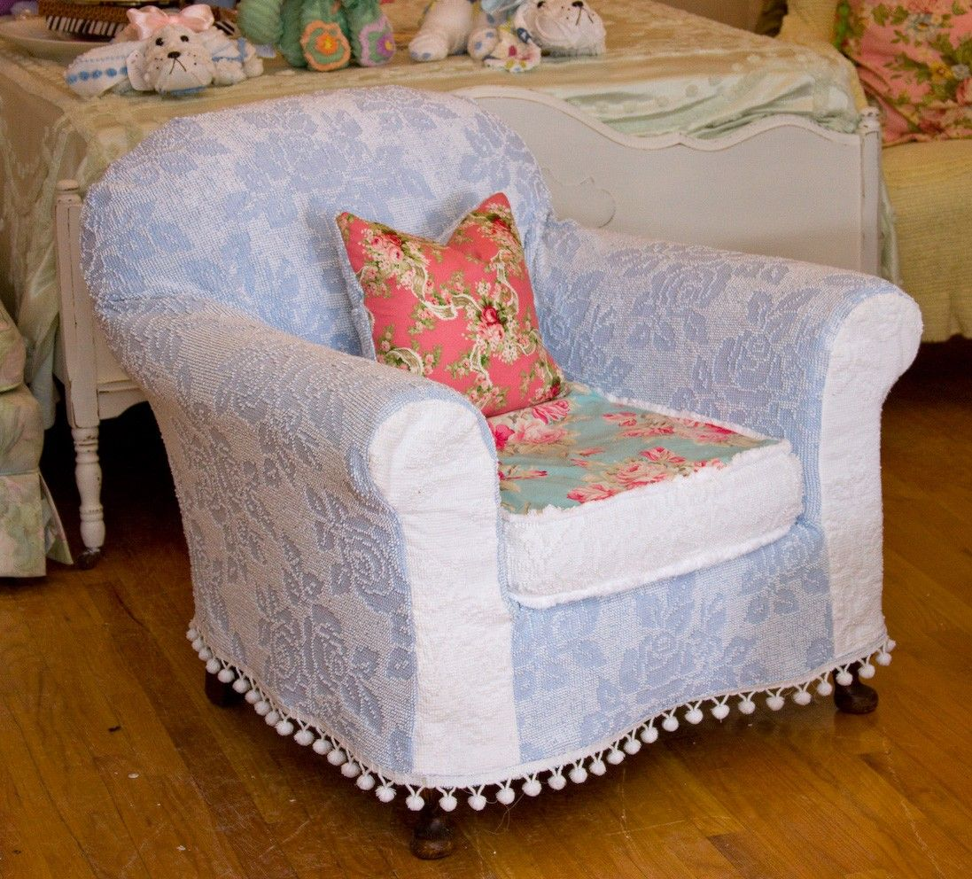 Shabby Chic Chair Chenille Bedspread Slipcover Roses