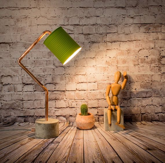 """Industrial concrete copper table green lamp, Industrial lamp, Desk lamp, Copper lamp, Concrete light, Table lamp, Model """"Lamp RCCL08"""""""