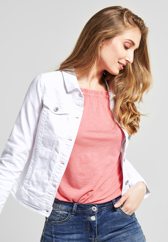 CECIL Jeansjacke mit Stickerei in White | Jacken
