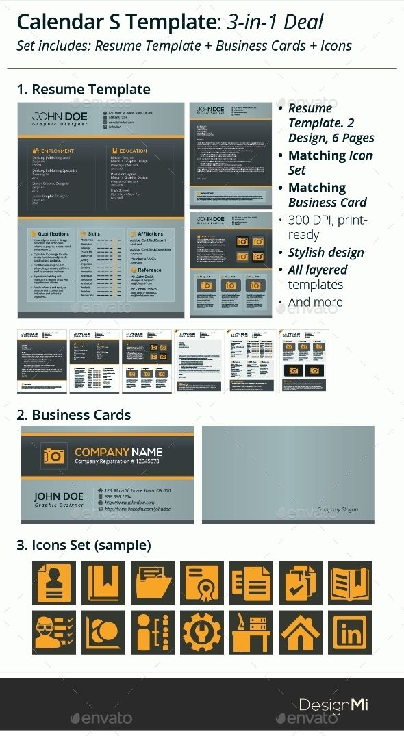 in-1 Deal Resume Template + Icons + Business Card, Calendar S - resume deal