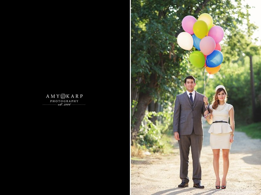 Retro Up Themed Engagement Session With Balloons Couples