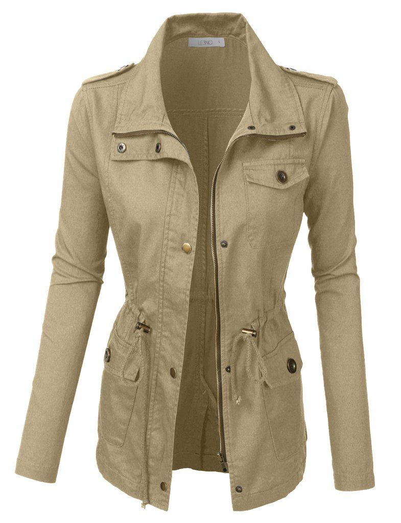 Utility Jacket Jackets And Nike: Womens Anorak Utility Military Jacket With Drawstring In
