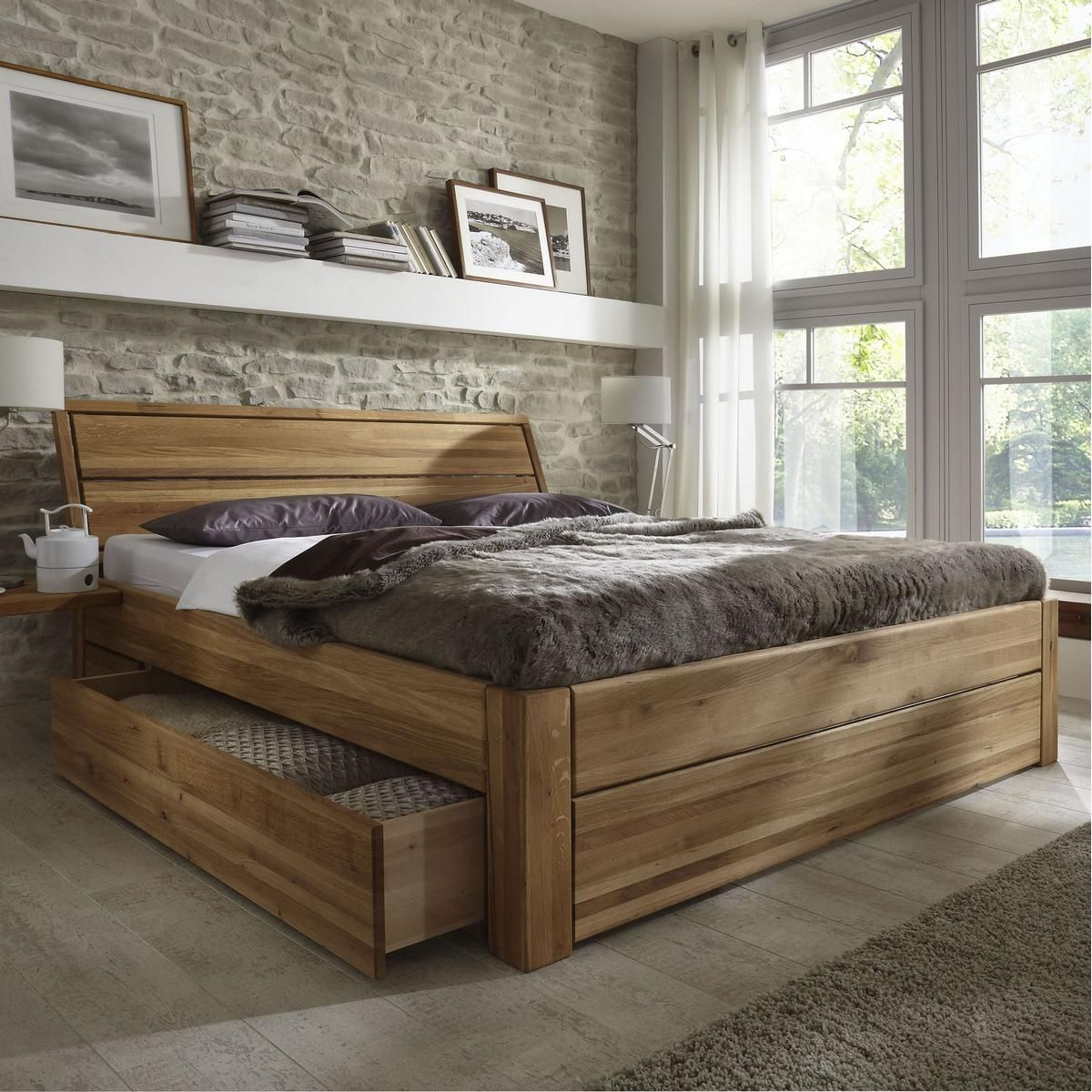 massivholz schubladenbett 180x200 holzbett bett eiche. Black Bedroom Furniture Sets. Home Design Ideas