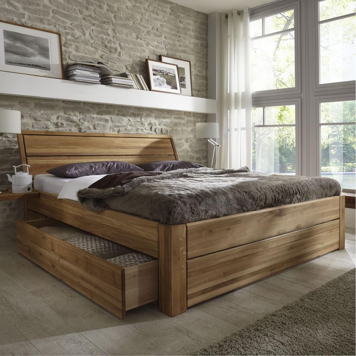 Massivholz Schubladenbett 180x200 Holzbett Bett Eiche Massiv Geolt