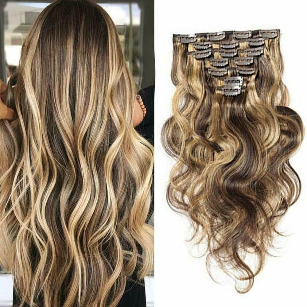 7Pcs 24inch Curly Clip in Human Hair Extensions Full Head
