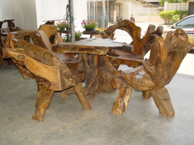 Teak Root Ball Picnic Set Wooden Table Diy Rustic Furniture Unusual Furniture