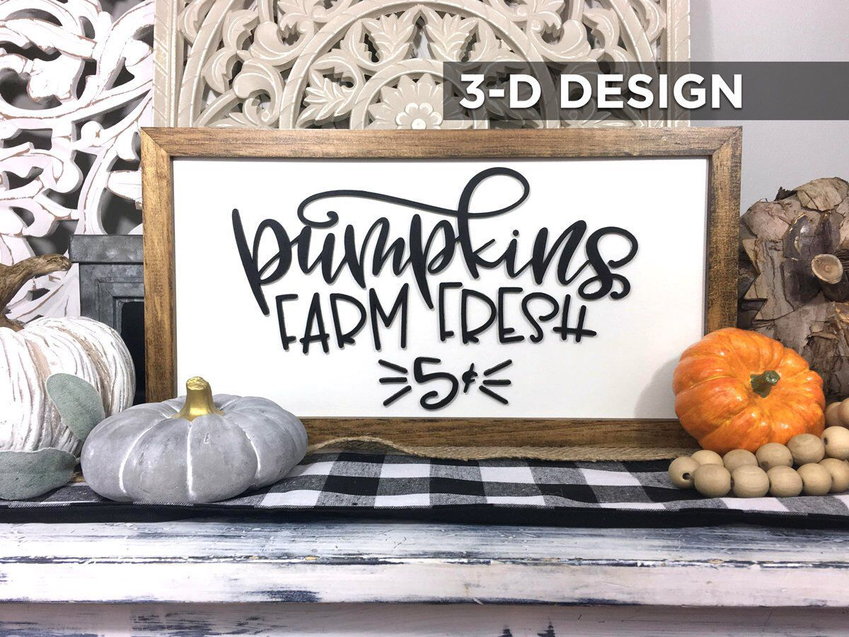 D framed farm fresh pumpkins wood sign farmhouse style living