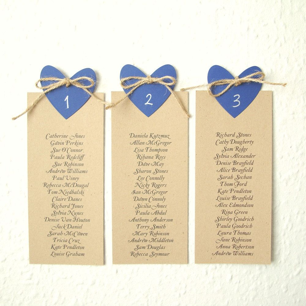 Wedding seating plan with Navy heart and natural jute set