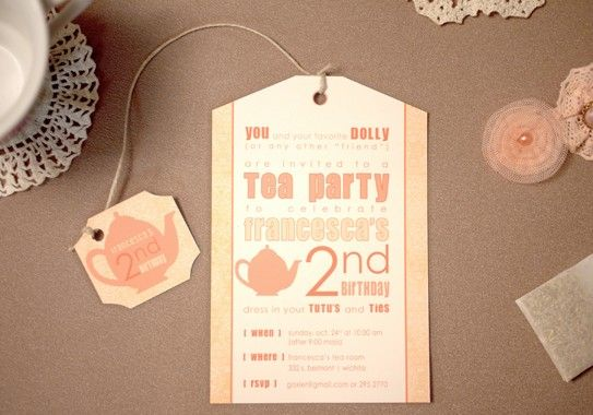 PRINTED Tea Party Birthday Invitations and envelopes girls