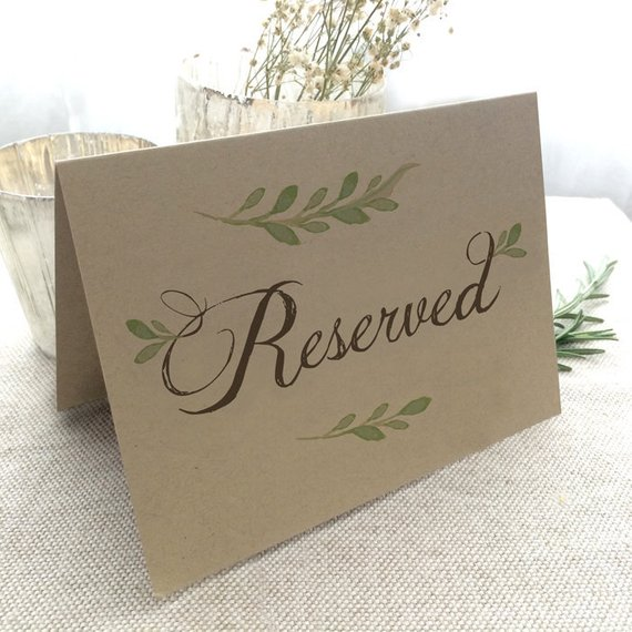 reserved sign for tables chairs reserved wedding table sign