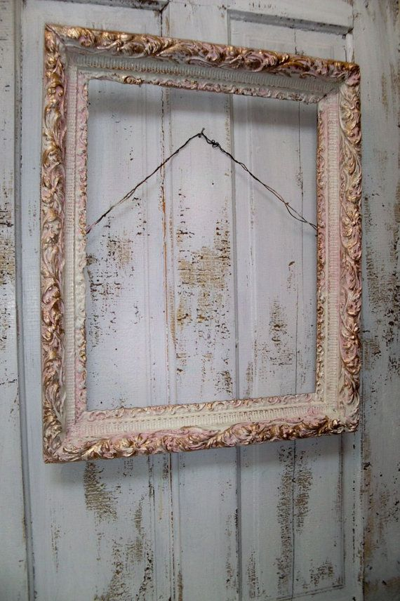 Large ornate frame hand painted pink white and gold distressed ...