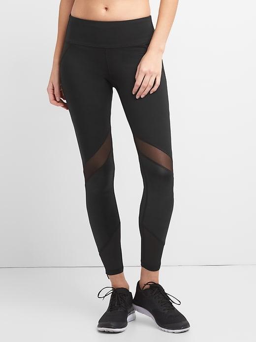49f92e213f Gap Womens Gapfit Gfast High Rise Leggings In Blackout With Shine And Mesh  Detailing True Black