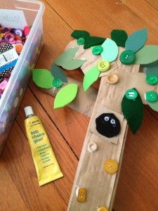 Fun project with recyclables and buttons for kids and summer camp projects about the outdoors.
