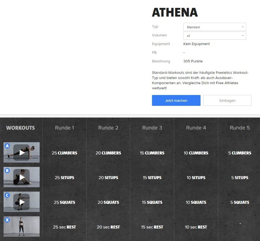 Freeletics Athena Workout Im Uberblick In 2020 Freeletics