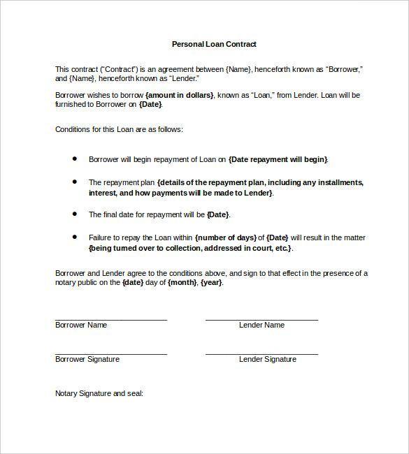 Personal Loan Contract Word   Simple Contract Template And